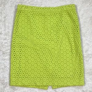 J.Crew Neon Kiwi Circle Eyelet No.2 Pencil Skirt